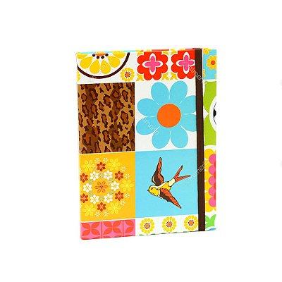 Caderno Médio Capa Dura com Elástico Azulejos