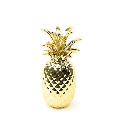 Abacaxi em Cerâmica Dourado Grande