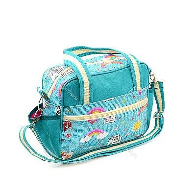 Bolsa de Viagem Pequena Unicórnios Unika Azul