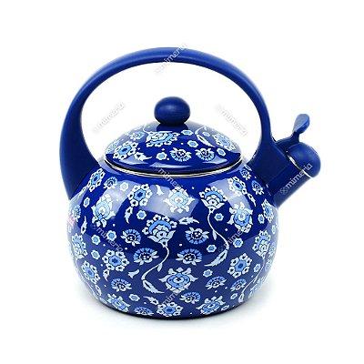 Chaleira Azulejos Portugueses Azul Marinho em Aço