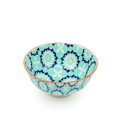 Bowl de Cerâmica Pequeno Floral Azul e Verde