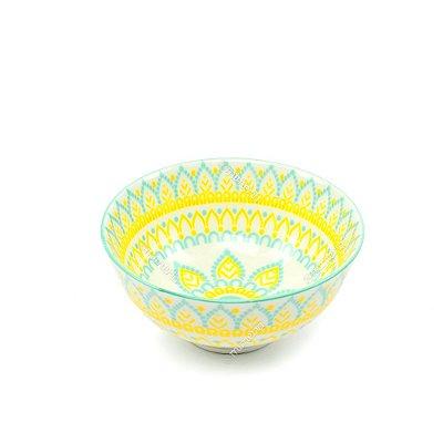 Bowl de Cerâmica Pequeno Floral Amarelo e Verde
