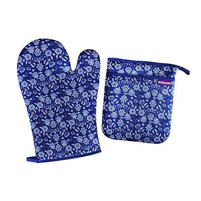 Luva e Pegador de Panela Azulejos Portugueses Azul
