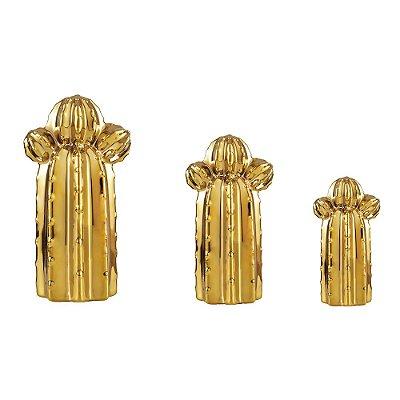 Conjunto 3 Cactos em Cerâmica Dourado Orelha de Urso