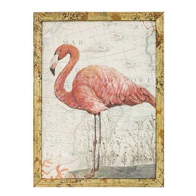 Quadro em Canvas com Moldura Flamingo Pequeno