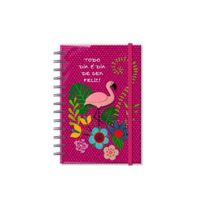 Caderno Médio Decorado com Aplique Flamingo