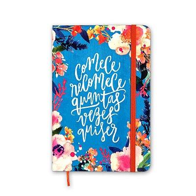 Caderneta sem Pauta Floral Comece Recomece Média
