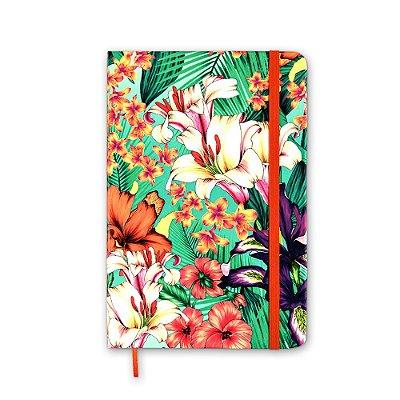 Caderneta sem Pauta Floral Hype Laranja Média