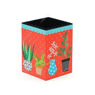 Porta-Lápis Decorado Cactus