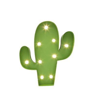 Placa Luminosa Cacto em Metal com LED Média