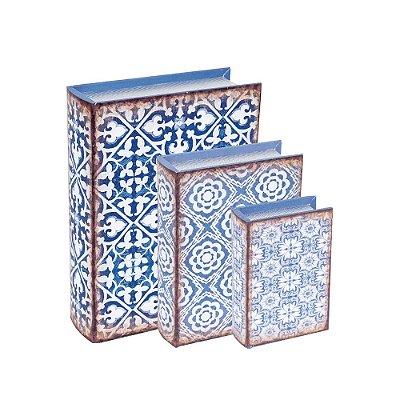 Conjunto 3 Livros Caixa Decorativos Arabescos Azul