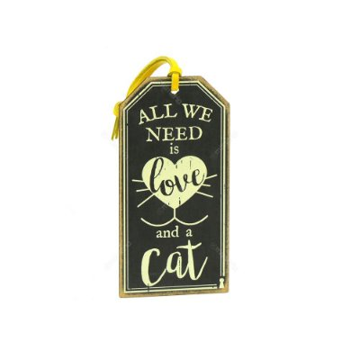 Plaquinha Tag Need Is Love Cat