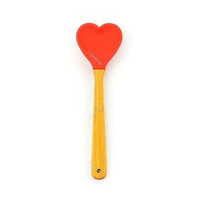 Espátula de Silicone Coração Vermelha