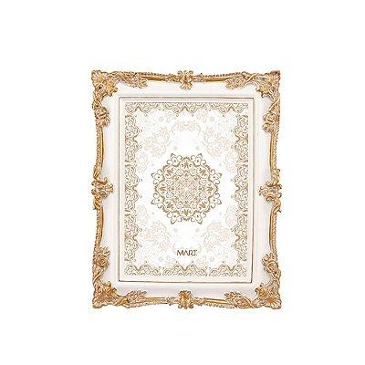 Porta Retrato de Resina Branco e Dourado 13x18
