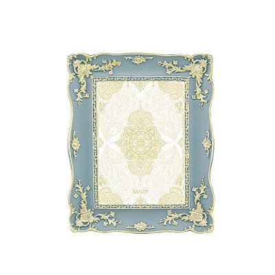 Porta Retrato de Resina Cinza e Dourado 13x18