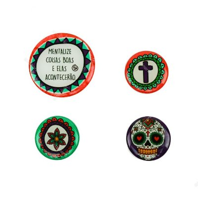 Kit Imãs Resinados Caveira Mexicana