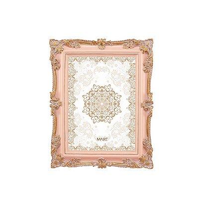 Porta Retrato de Resina Rosa e Dourado 13x18
