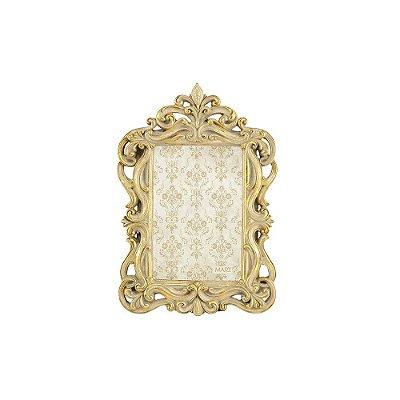 Porta Retrato de Resina Neoclássico Ornamentado Dourado 10x15