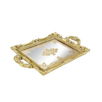 Bandeja em Resina com Espelho Dourada Pequena
