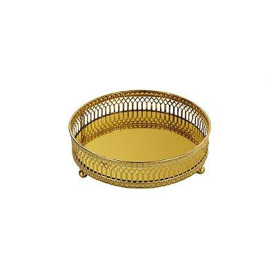 Bandeja em Metal Redonda com Espelho Dourada Pequena