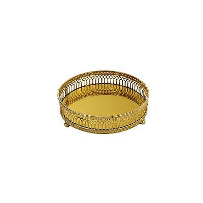 Bandeja em Metal Redonda com Espelho Dourada Mini