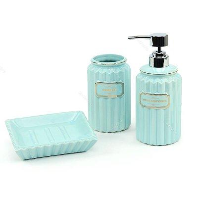 Kit de Banheiro Barber Azul e Dourado