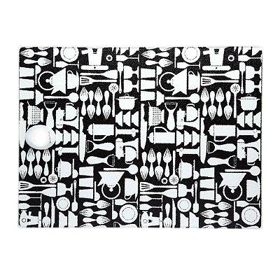 Tábua de Corte em Vidro Temperado Retangular Preto e Branco Kitchen Craft