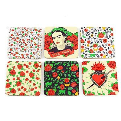 Conjunto 6 Porta Copos de Cortiça Frida Floral