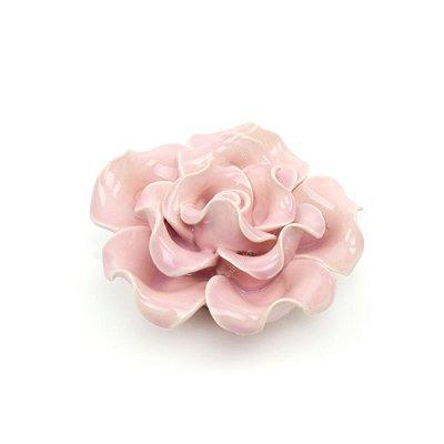 Flor Decorativa em Cerâmica Flor Rosa Pequena