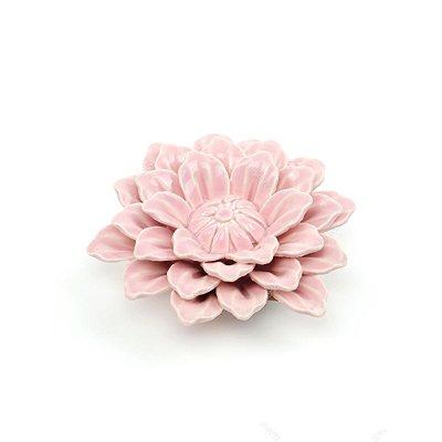 Flor Decorativa em Cerâmica Rosa Claro Média
