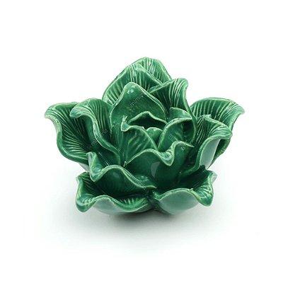Flor Decorativa em Cerâmica Flor Verde Média