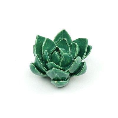 Flor Decorativa em Cerâmica Flor Verde Pequena