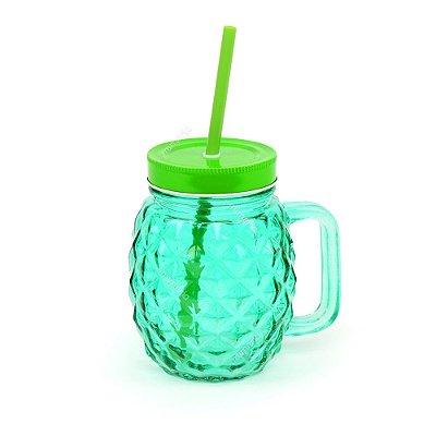 Copo de Vidro com Canudo Abacaxi Verde