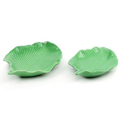 Kit 2 Petisqueiras em Cerâmica Folha Redonda Verde