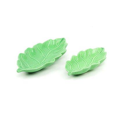 Kit 2 Petisqueiras em Cerâmica Folha Verde