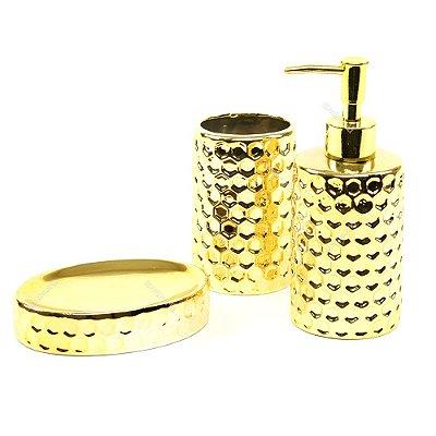 Kit de Banheiro em Cerâmica Dourado Colméia