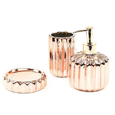 Kit de Banheiro em Cerâmica Rose Gold Zigue Zague