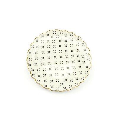 Mini Prato em Cerâmica Decorado Preto e Dourado