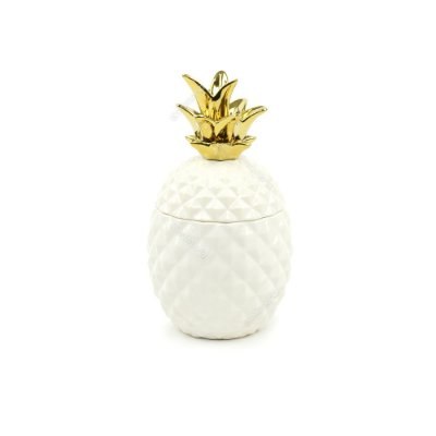 Pote de Abacaxi em Cerâmica Branco e Dourado Médio