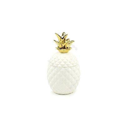 Pote de Abacaxi em Cerâmica Branco e Dourado Pequeno