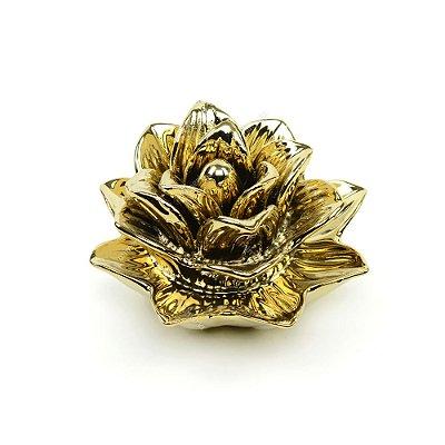 Flor Rosa Decorativa em Cerâmica Dourada Média