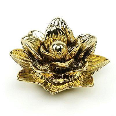 Flor Rosa Decorativa em Cerâmica Dourada Grande