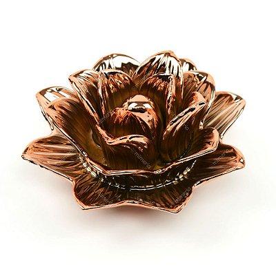Flor Rosa Decorativa em Cerâmica Rose Gold Grande