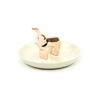 Porta-Joias em Cerâmica Elefante Rose Gold