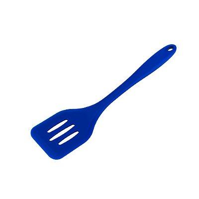 Espátula Perfurada de Silicone Azul 29 cm