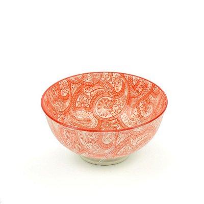 Bowl de Cerâmica Pequeno Estampado Floral Coral