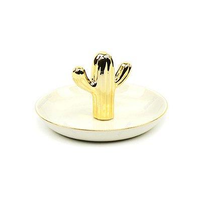 Porta-Joias em Cerâmica Cacto Dourado