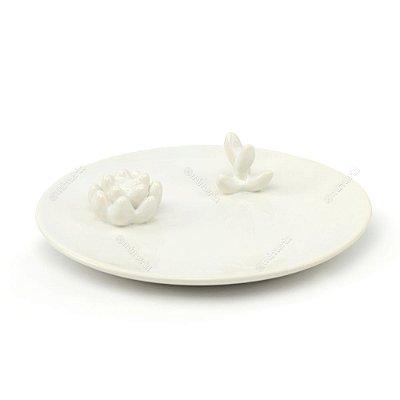 Prato em Cerâmica Decorado Cactos Branco