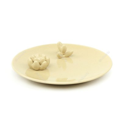 Prato em Cerâmica Decorado Cactos Bege