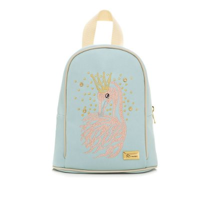 Bolsa Mochila Infantil Flamingo Azul Claro Pequena
